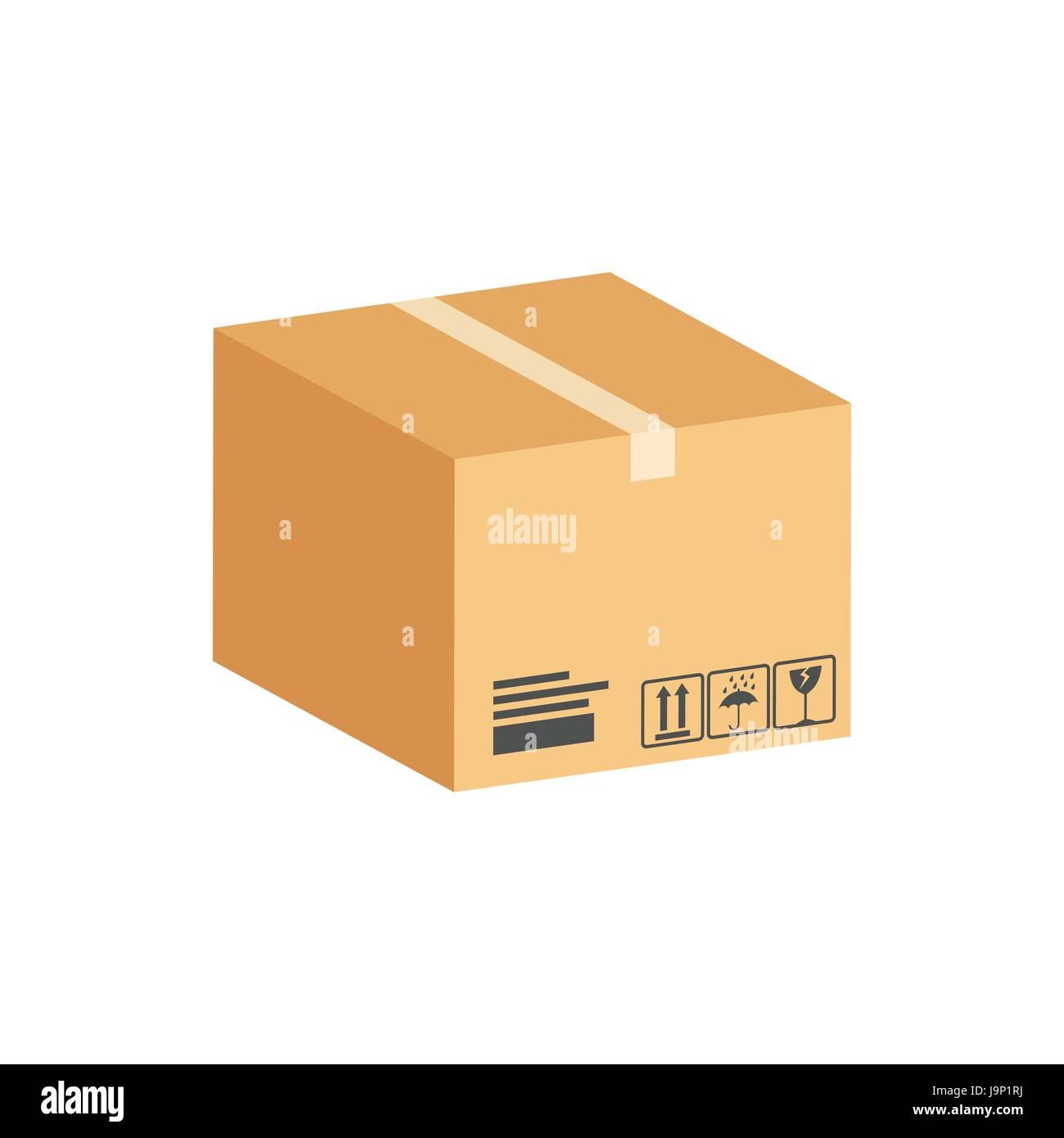 karton paket symbol flache isometrische symbol oder logo 3d style piktogramm f r web design. Black Bedroom Furniture Sets. Home Design Ideas