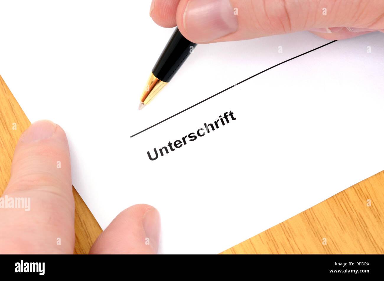 Vertrag Dokument Unterschrift Unterschreiben Kerbe Rutschen