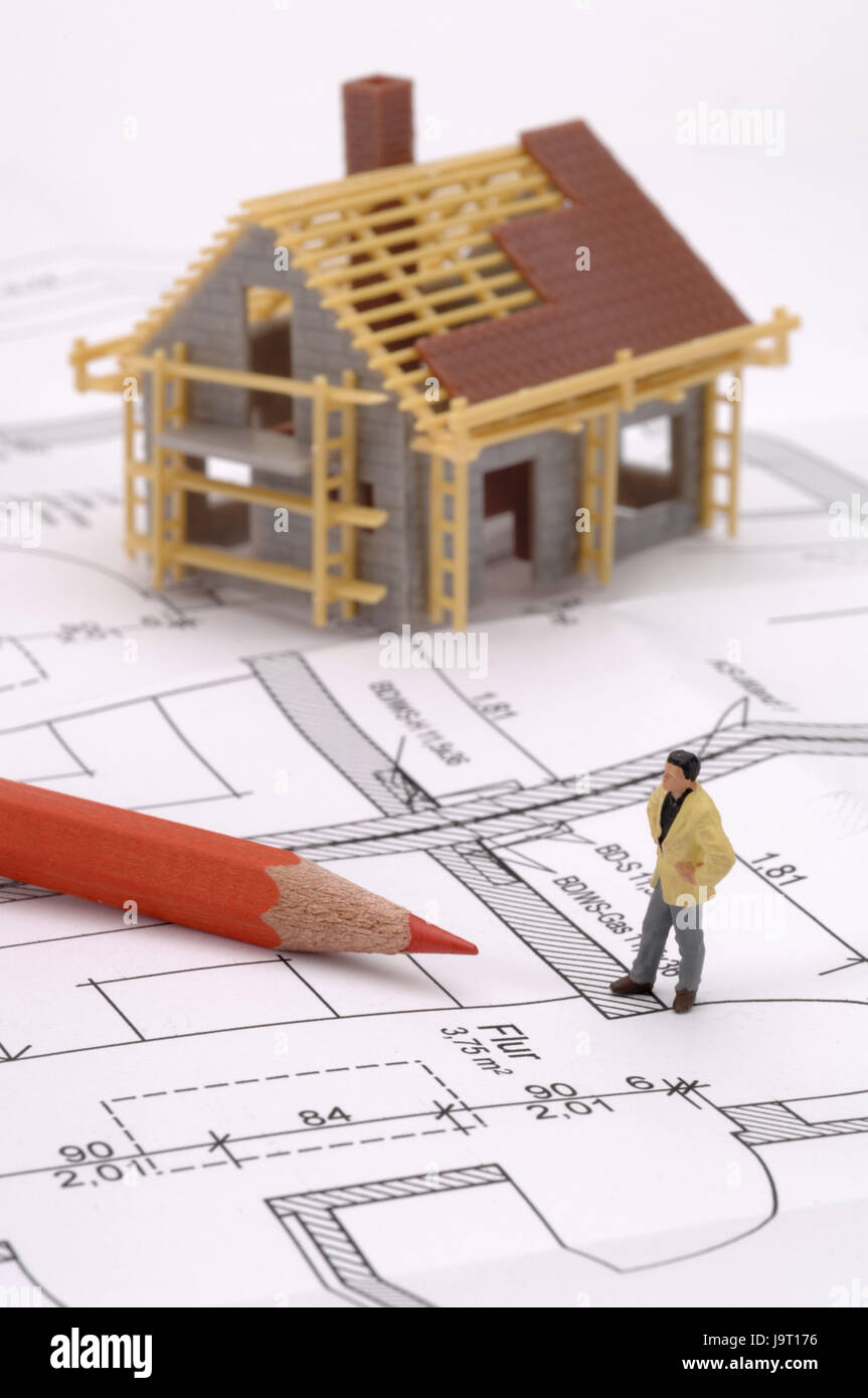 Symbol, Bau ein Haus planen, Modell, Plan des Architekten ...