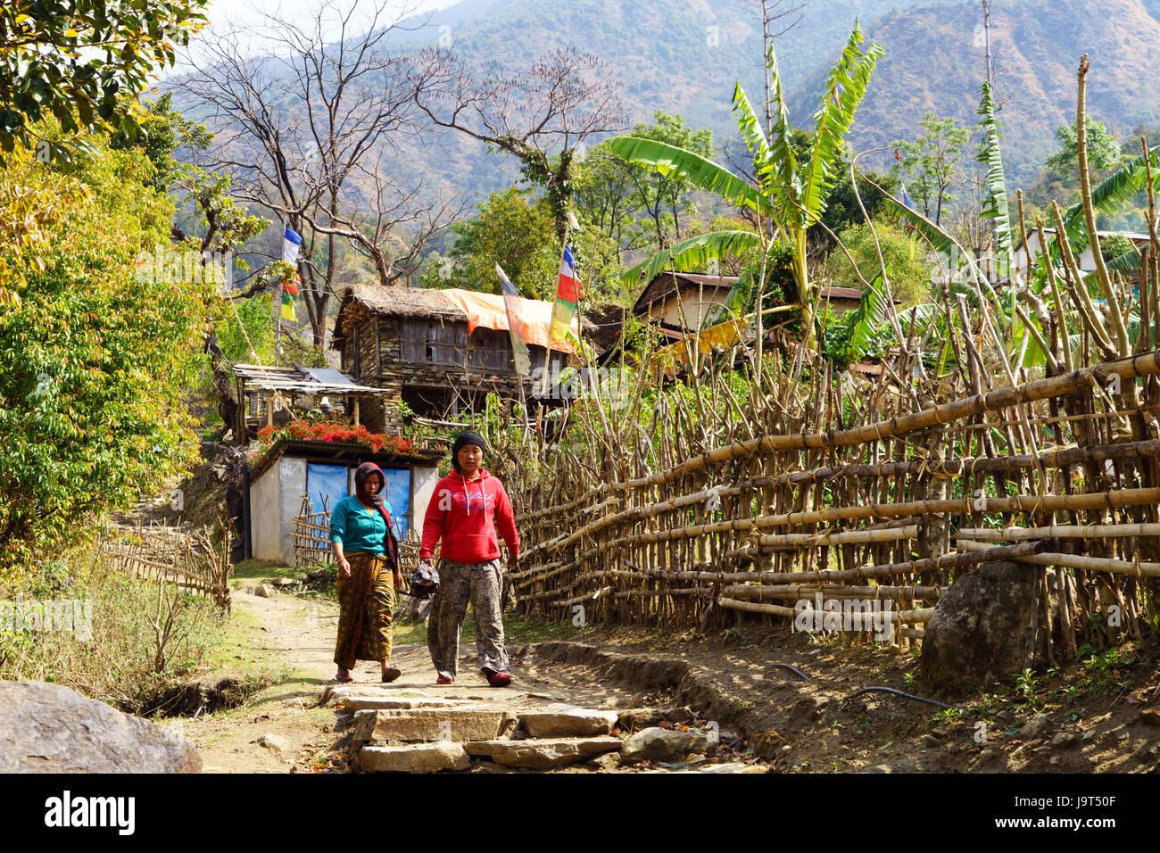 Einheimische Wandern auf den Spuren der Nähe bahundanda, Annapurna region, Nepal. Stockbild