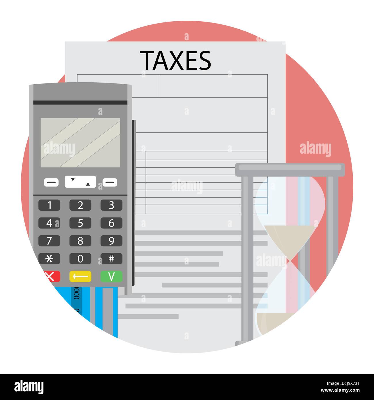 Symbol-Zeit, Steuern zu zahlen. Steuer Vorbereitung Zeichen Symbole ...