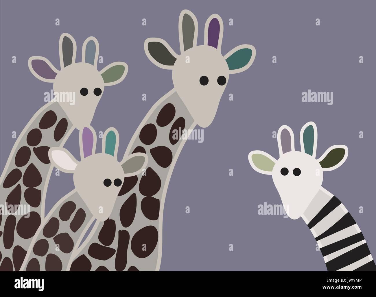 Giraffen-Familie sucht überrascht mit Giraffe in verschiedenen Kennzeichnung Stock Vektor
