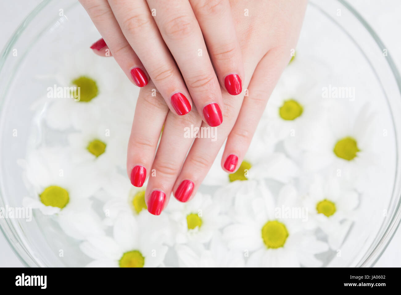 Red Painted Finger Nails Stockfotos & Red Painted Finger Nails ...