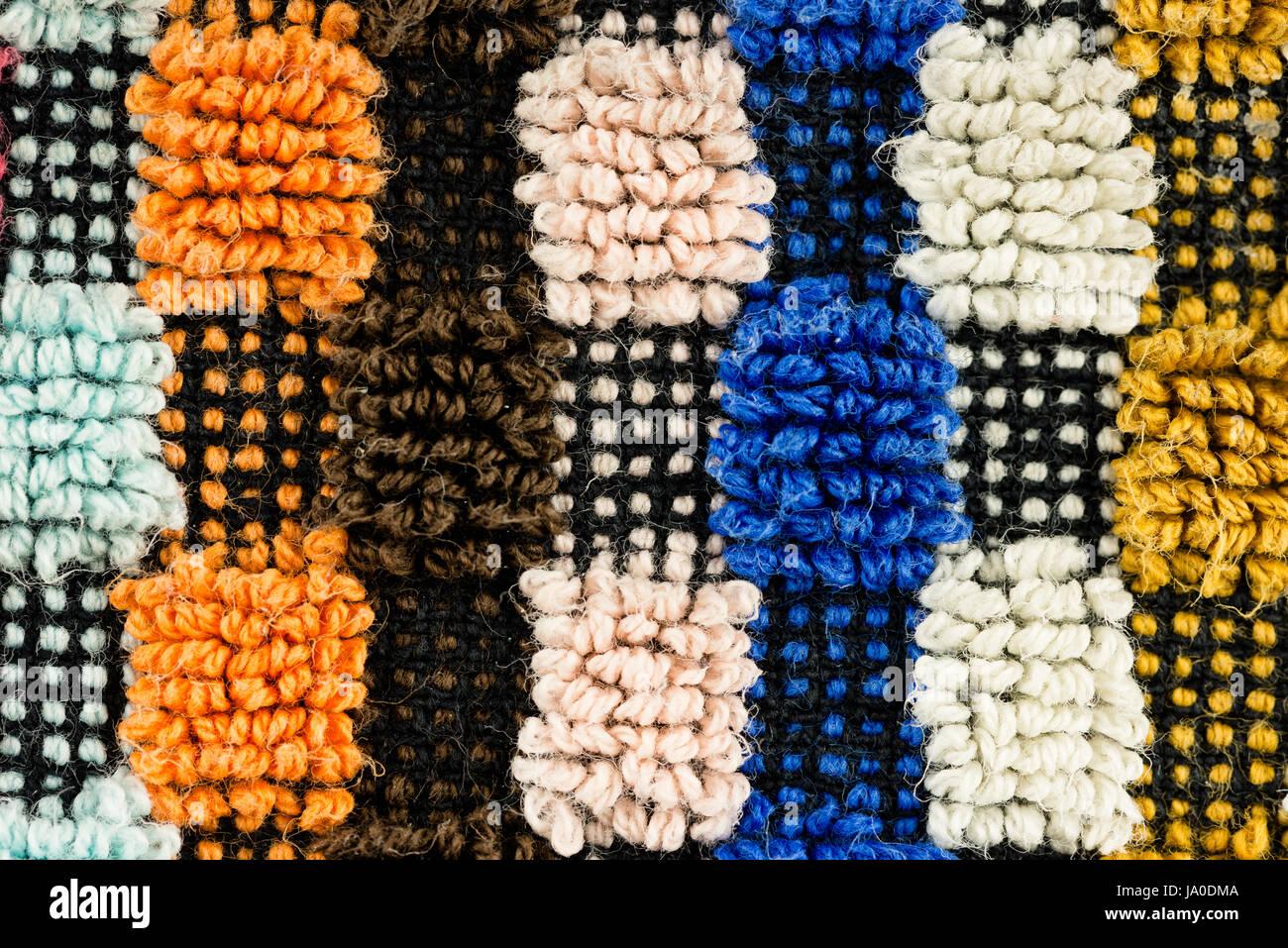 Nahaufnahme eines Multi-farbigen detaillierte Strukturstoff-Musters Stockbild