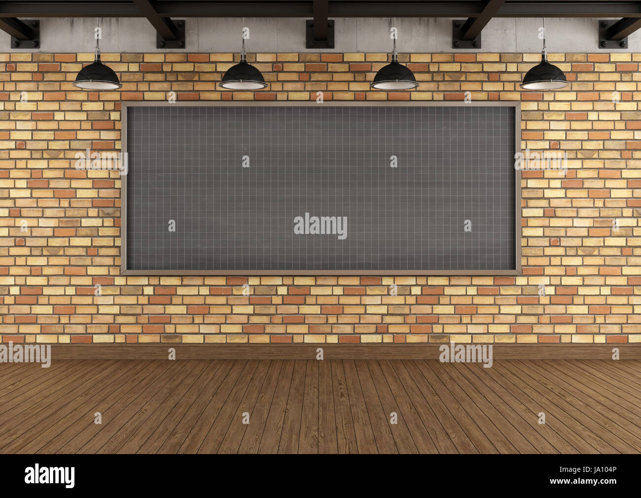 Loft Brick Wall Concrete Beams Stockfotos & Loft Brick Wall Concrete ...