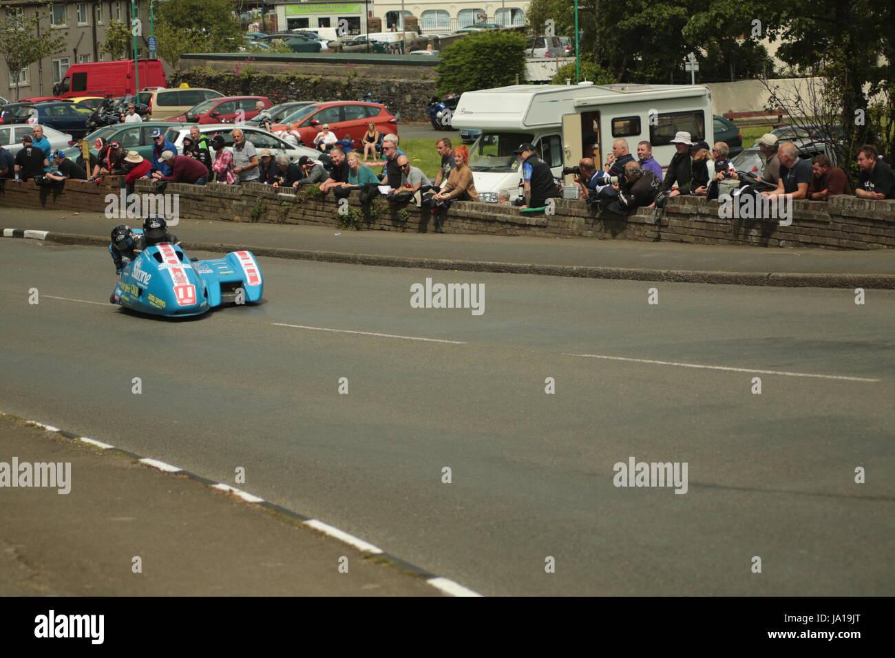 Isle Of Man TT Races, Beiwagen Praxis Qualifikationsrennen, Samstag, 3. Juni 2017. Beiwagen-qualifying-Session. Stockbild