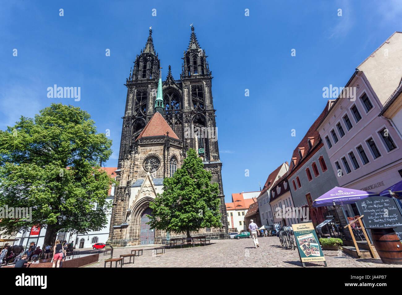 Meißner Dom, Domplatz, Meissen, Sachsen, Europa Stockbild