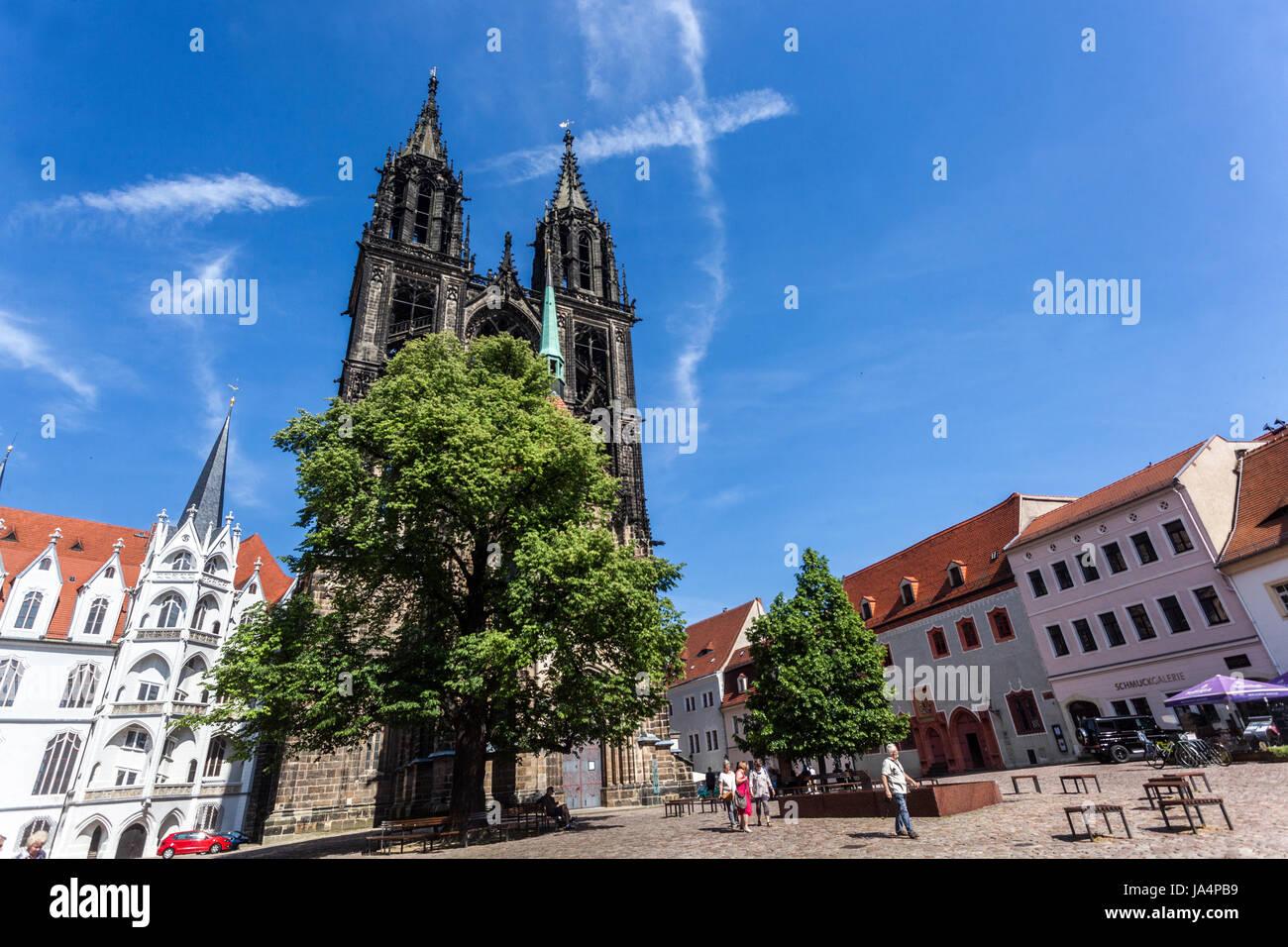 Domplatz, Meißner Dom, Sachsen, Deutschland Europa Stockbild