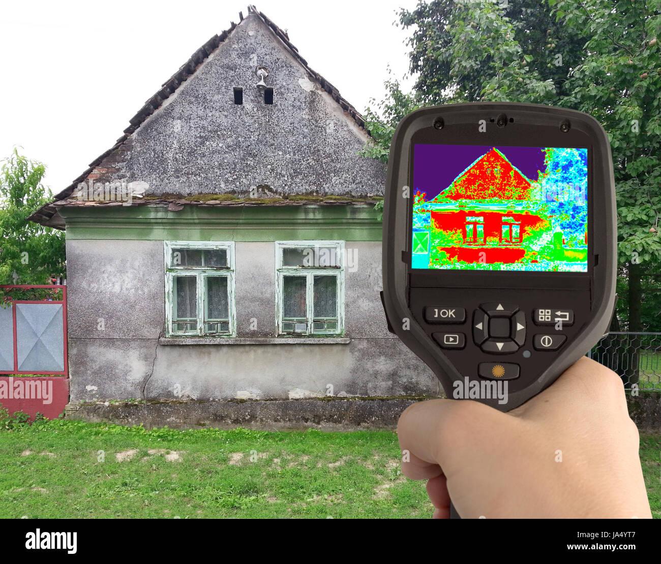 Infrarot, Wärmeverlust, Thermografie, Haus, Gebäude, Energie, Strom,  Elektrizität,