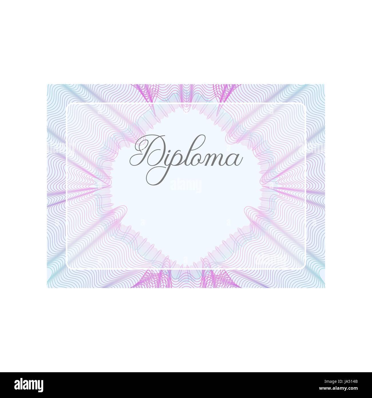 Guilloche offizielle rosa Zertifikat mit Rahmen, horizontale Vektor ...