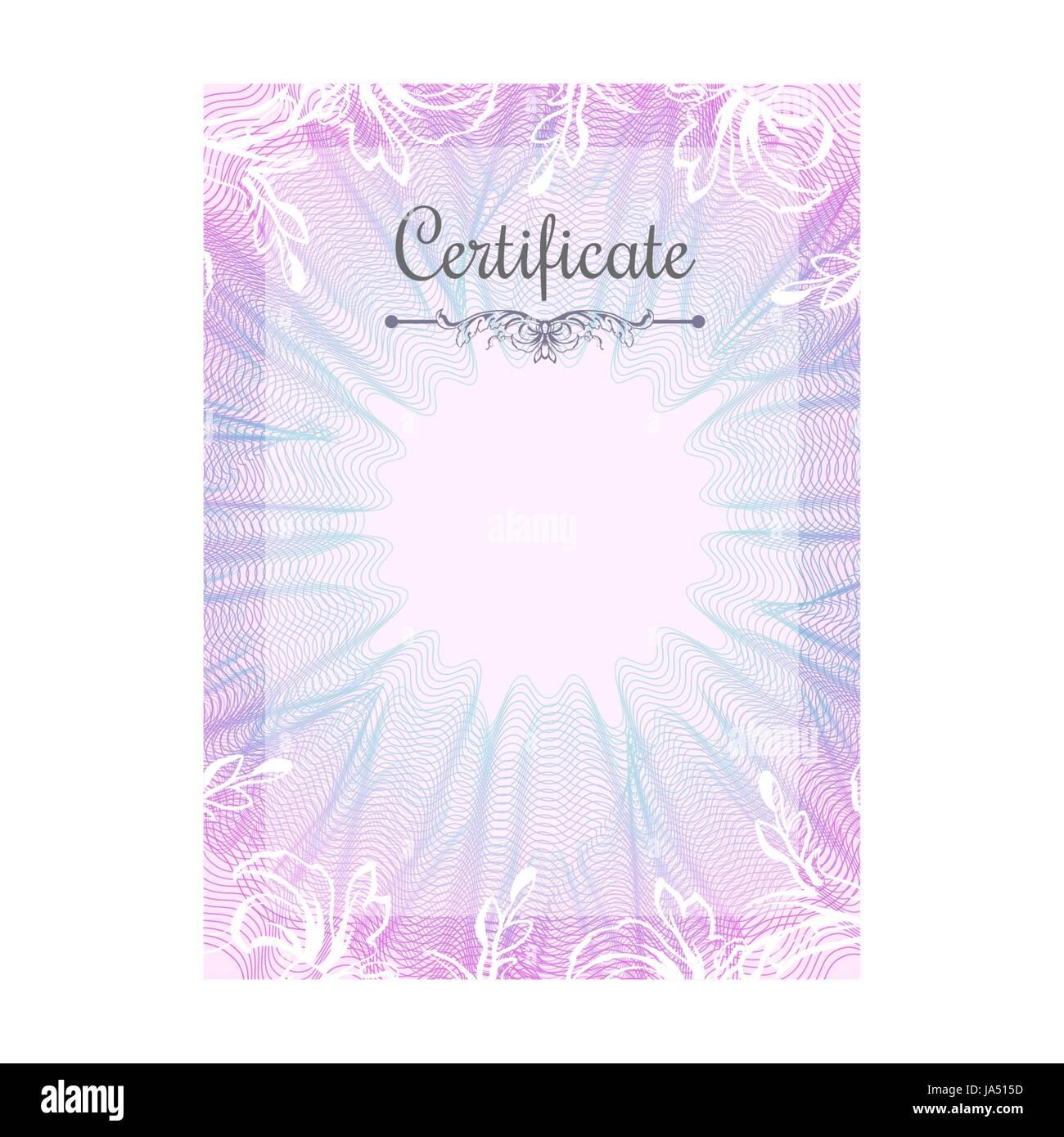 Guilloche offizielle rosa Zertifikat mit Rahmen Vektor Abbildung ...