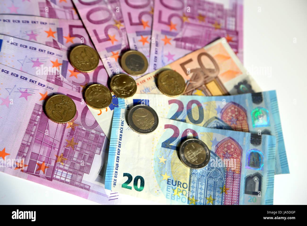 Papiergeld Scheine Und Münzen In In Mehrere Konfessionen Euro