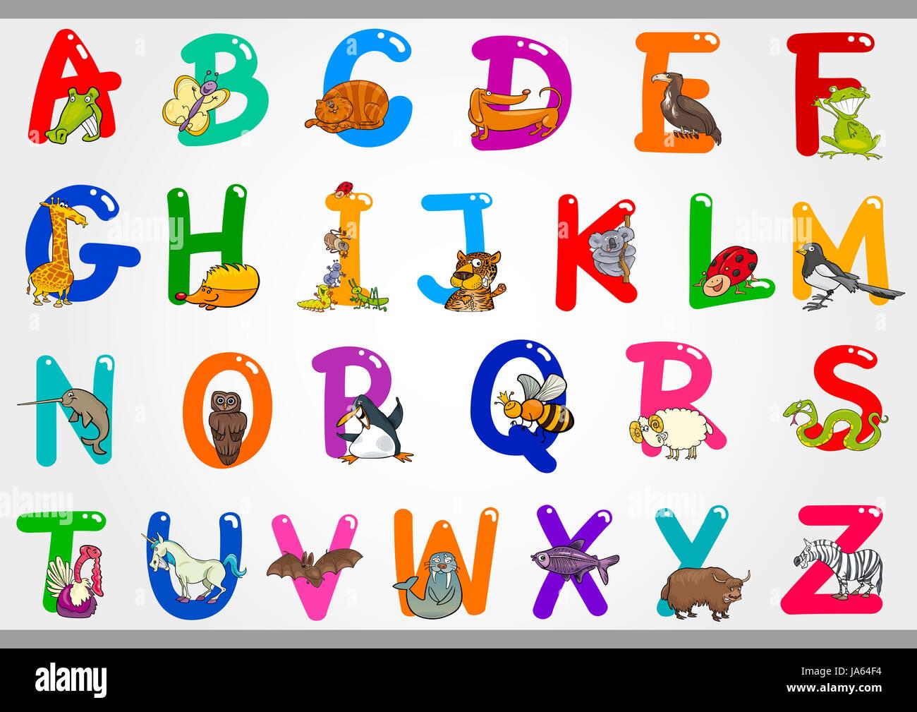 Bildung, Illustration, Alphabet, cartoon, ABC, lernen, Kind ...