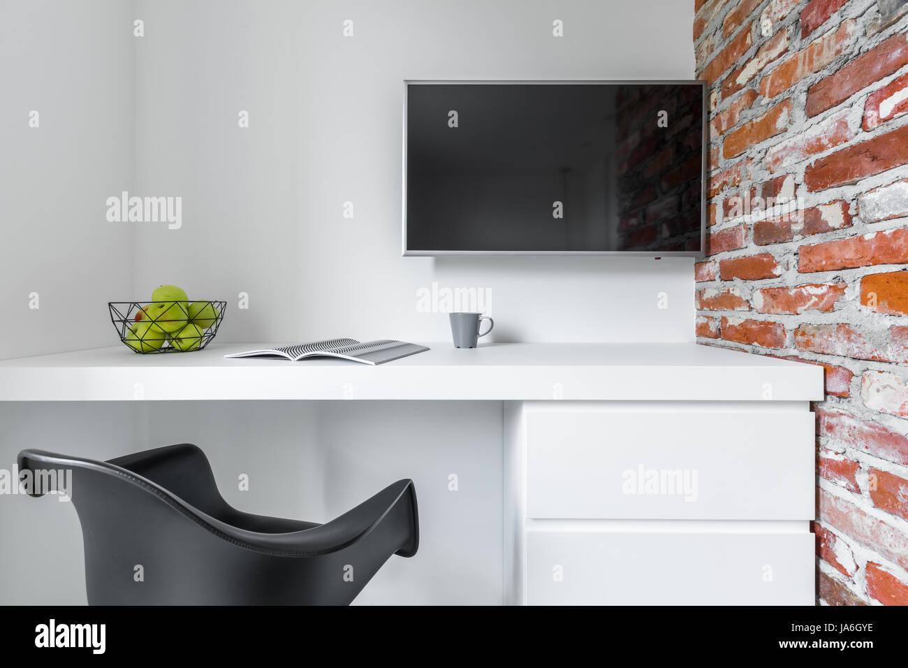 SchreibtischSchwarzen Weißer Modernen Raum Mit Stuhl Arbeitsplatte 54ARcjLSq3