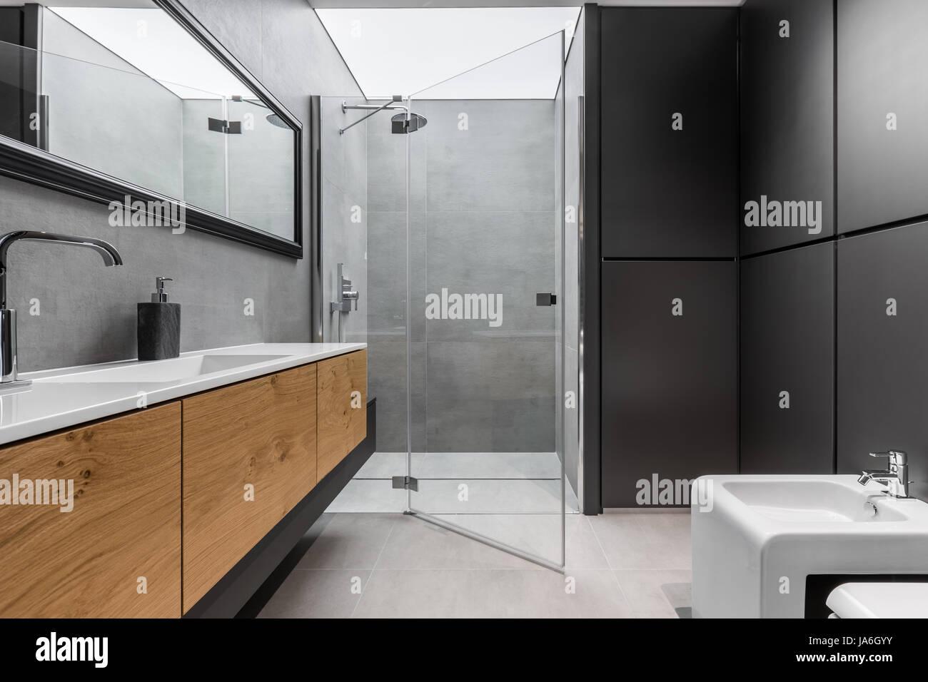 Faszinierend Schwarze Möbel Foto Von Moderne, Graue Und Bad Mit Dusche, Bidet,