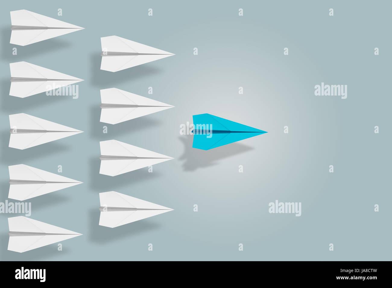 Führung und Ehrgeiz Konzept mit Papierflieger. 3D-Rendering Stockbild