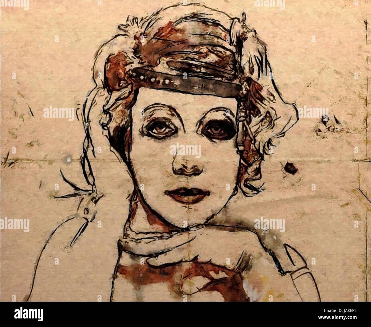 Abstrakte Kunst Skizze Schonen Retro Junge Frau Schones Gesicht Auf Sepia Hintergrund Papierstruktur Stockfotografie Alamy