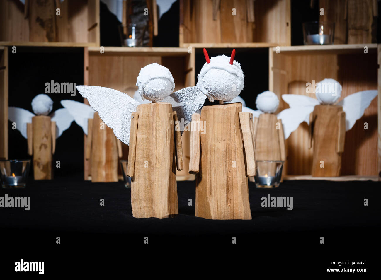 Holz Advent Engel Engel Deko Kunsthandwerk Teufel