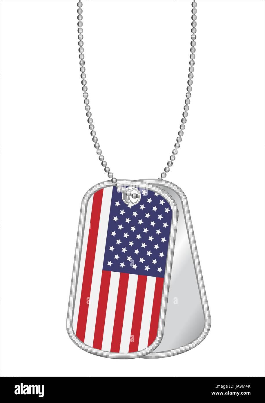 Vereinigte Staaten von Amerika Flagge auf einem Stahl Hundemarke ...