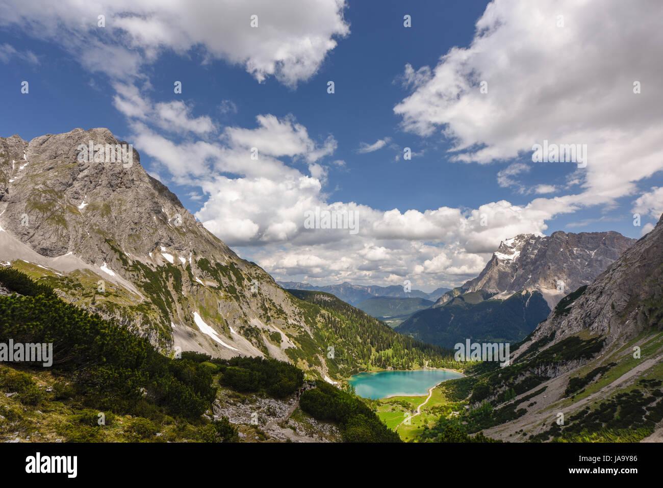 seebensee lake ehrwald tyrol austria stockfotos seebensee lake ehrwald tyrol austria bilder. Black Bedroom Furniture Sets. Home Design Ideas