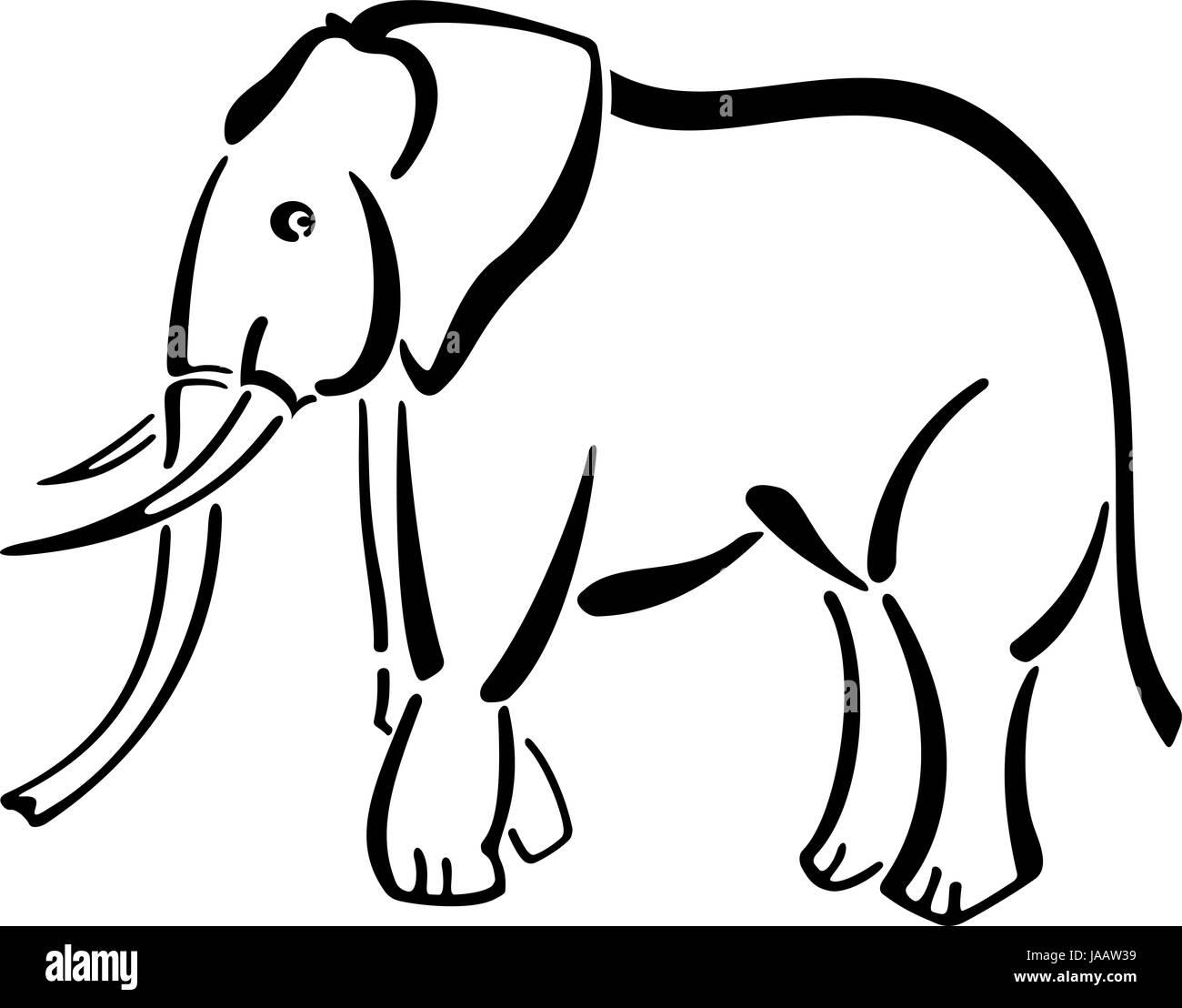 Schwarz Weiß Cartoon Stil Elefant Stockfoto Bild 144068717 Alamy