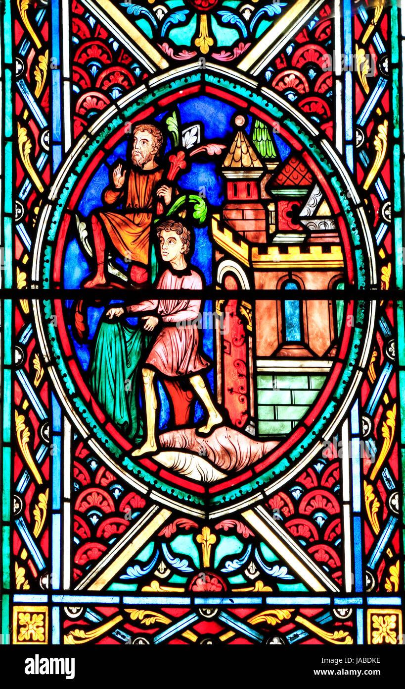 Jesus in Jerusalem, am Palm Sonntag begrüßt, Menschen verbreiten Mäntel vor ihm, schneiden Palmen, Stockbild