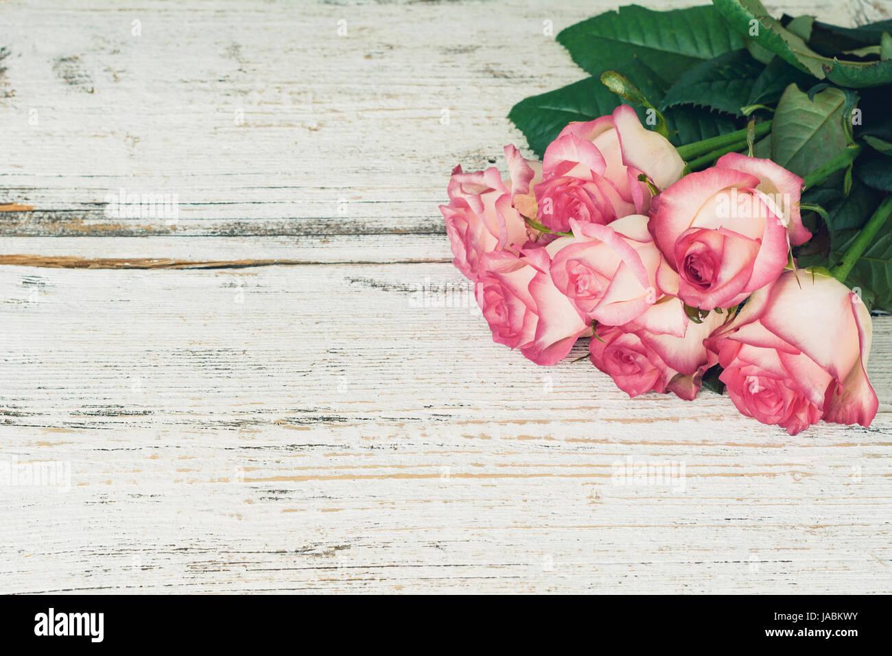 Rosa Rosen Rosa Blumen Auf Vintage Holz Hintergrund Und Raum Zu