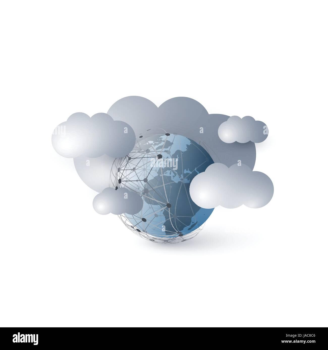Cloud-Computing, globale Vernetzung, Technologie-Konzept-Hintergrund ...