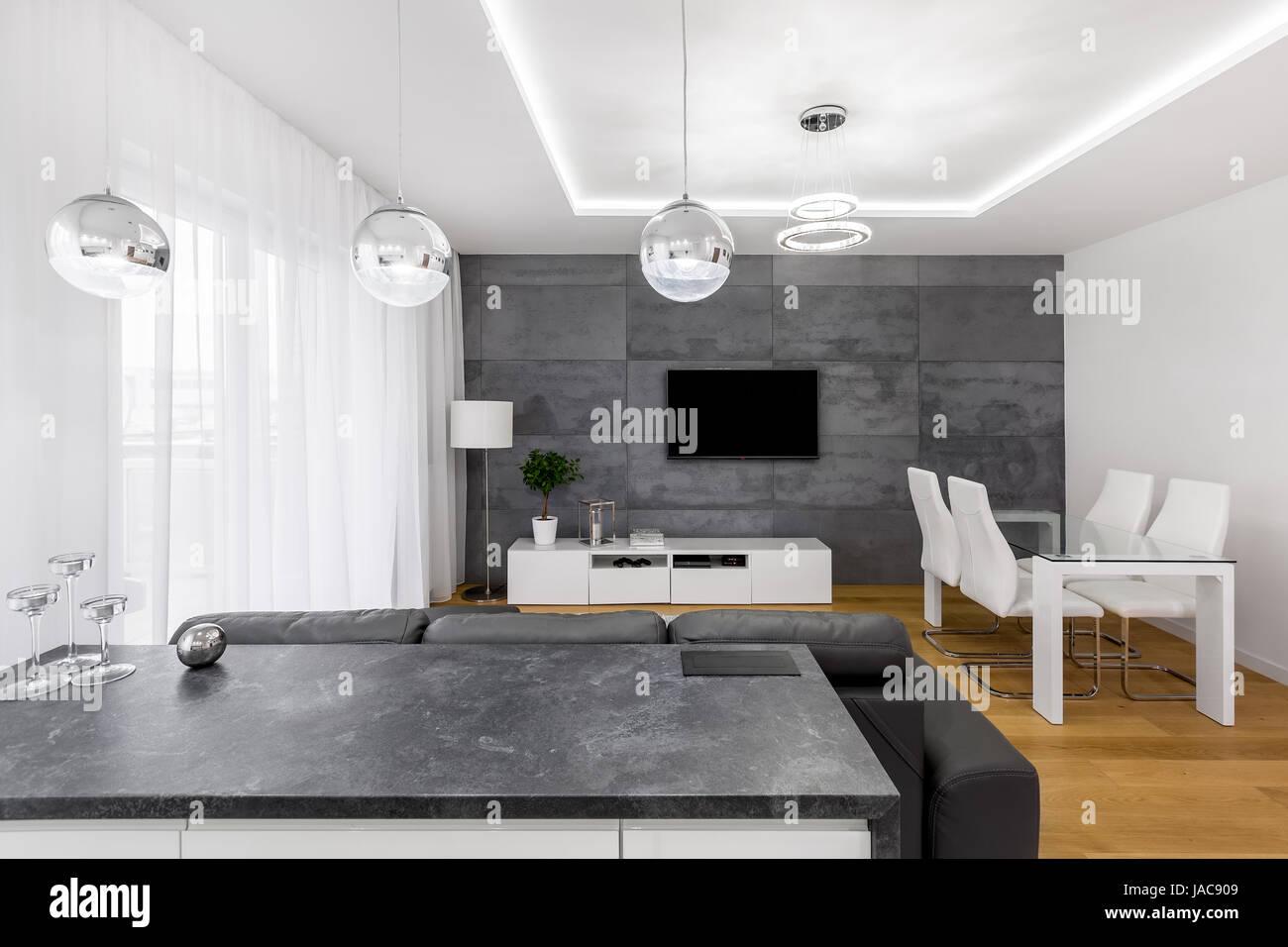 Moderne offene plan wohnung mit betonmauer lampen tv tisch und
