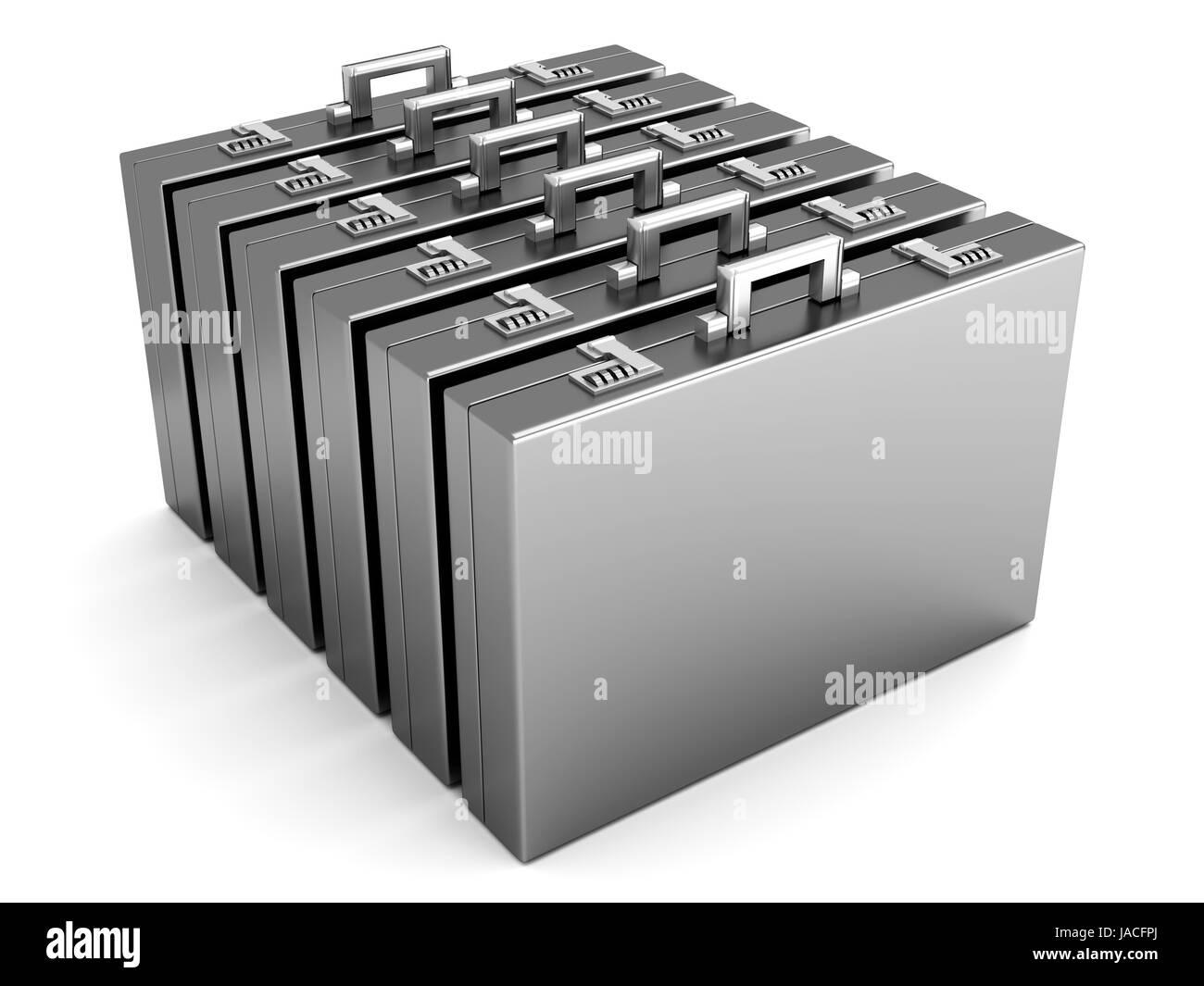 Eine Reihe von Briefacses isoliert auf weiss. 3D gerenderte Darstellung. Stockbild