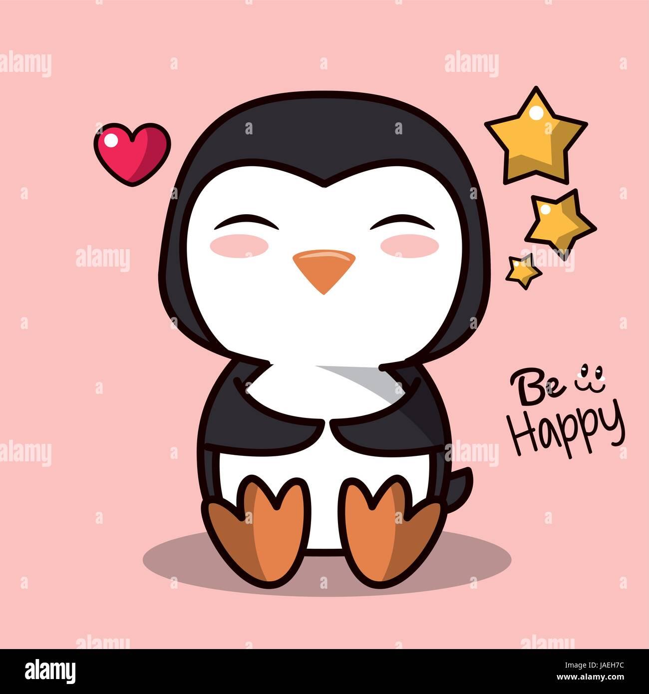 Rosa Hintergrund Mit Cute Kawaii Tiere Pinguin Und Schwimmenden Herzen Sternen