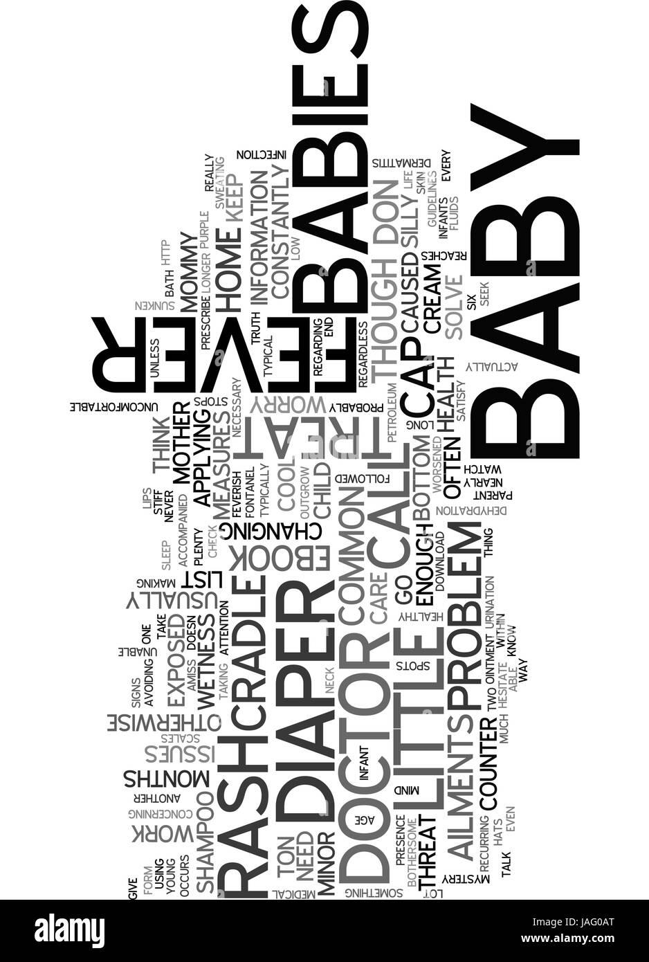 BABYS KLEINE KRANKHEITEN TEXTKONZEPT WORD CLOUD Stockbild
