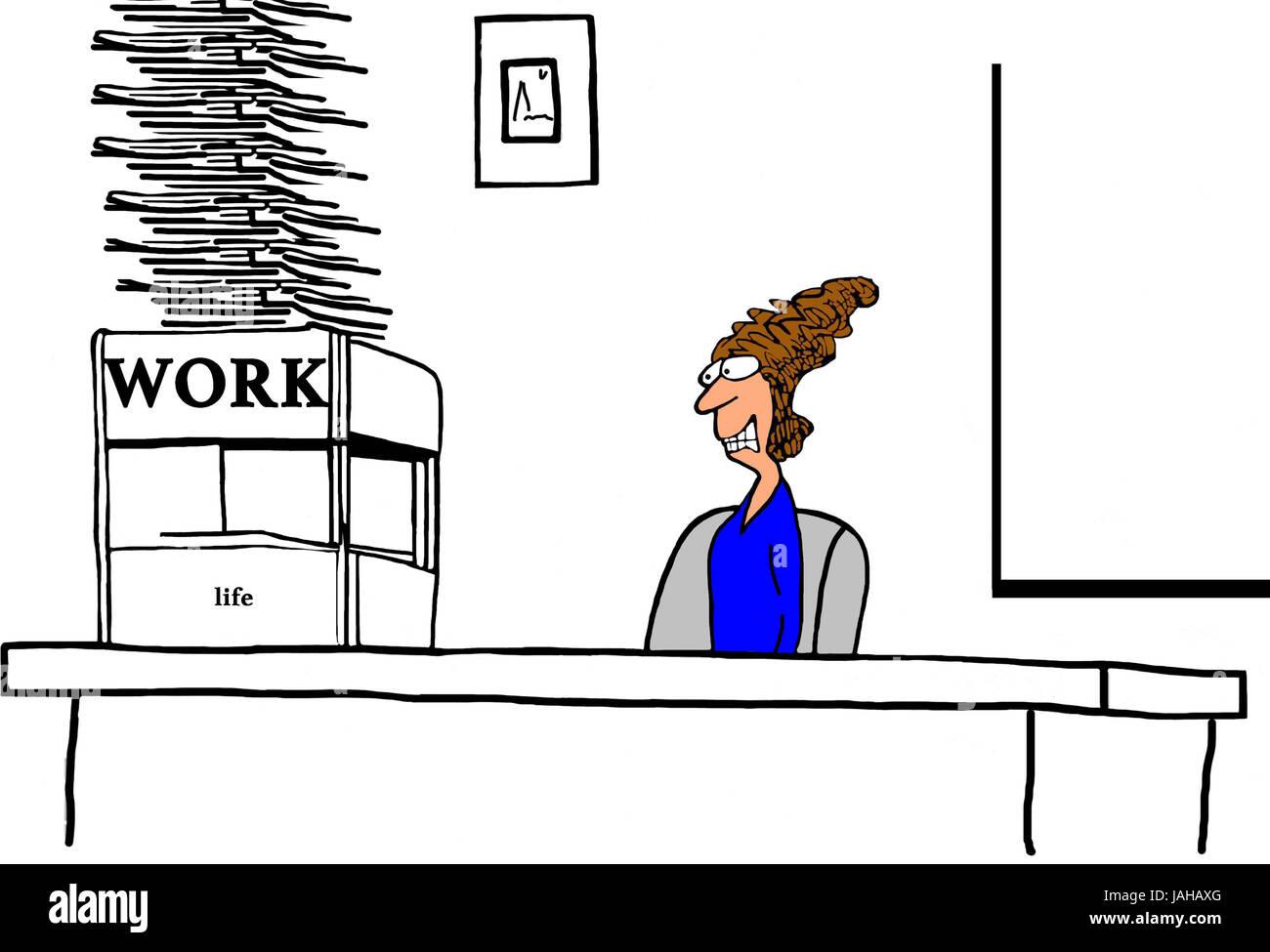 Geschaft Cartoon Illustration Eine Gestresste Geschaftsfrau Mit Zu