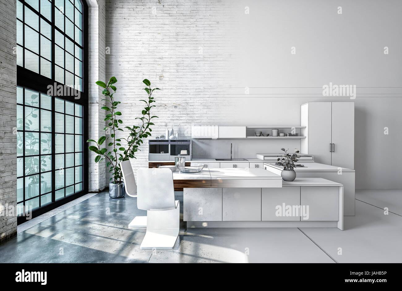 Kompakte Moderne Weiße Offene Küche Interieur Mit Eingebauten Schränken,  Geräten Und Theke Vor Einem Doppelten Volumen Große Helle Fenster. 3D Re