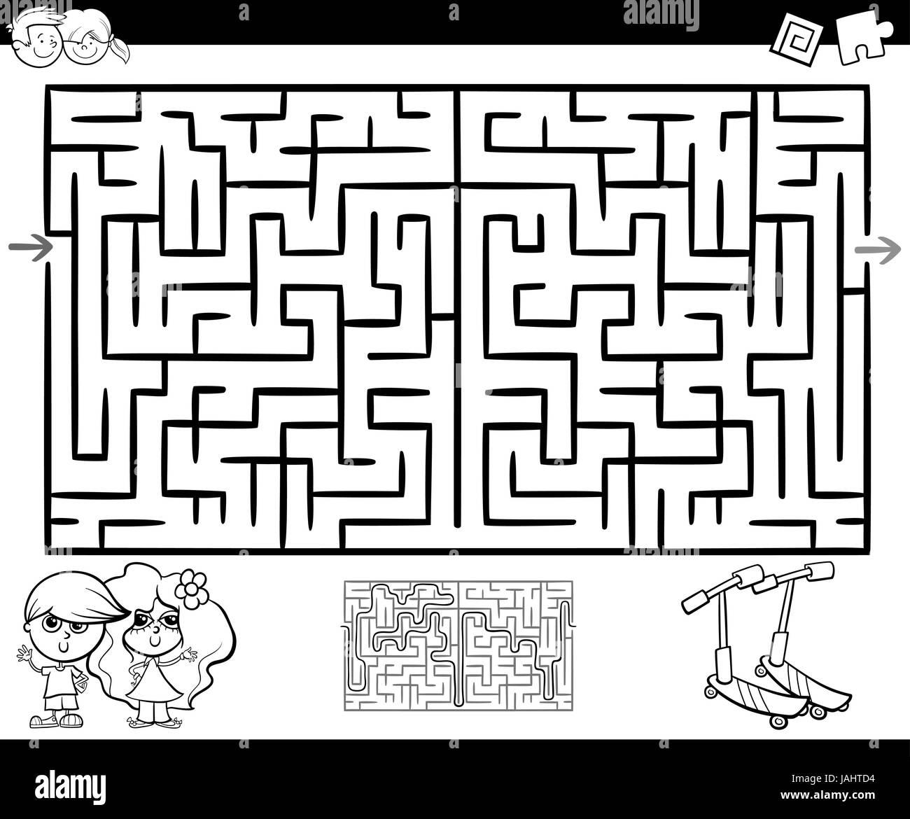 Cartoon Illustration der Bildung Irrgarten oder Labyrinth-Spiel für ...