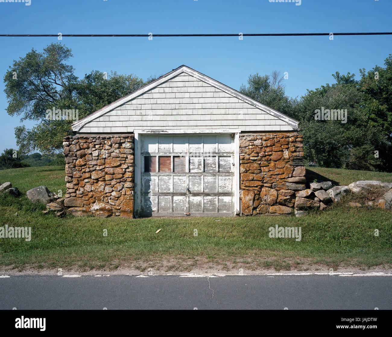 Stein Garage   Block Island Stockbild