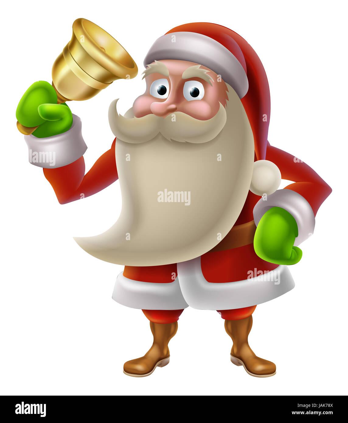 Ein Beispiel Weihnachten Cartoon Weihnachtsmann eine goldene Glocke ...