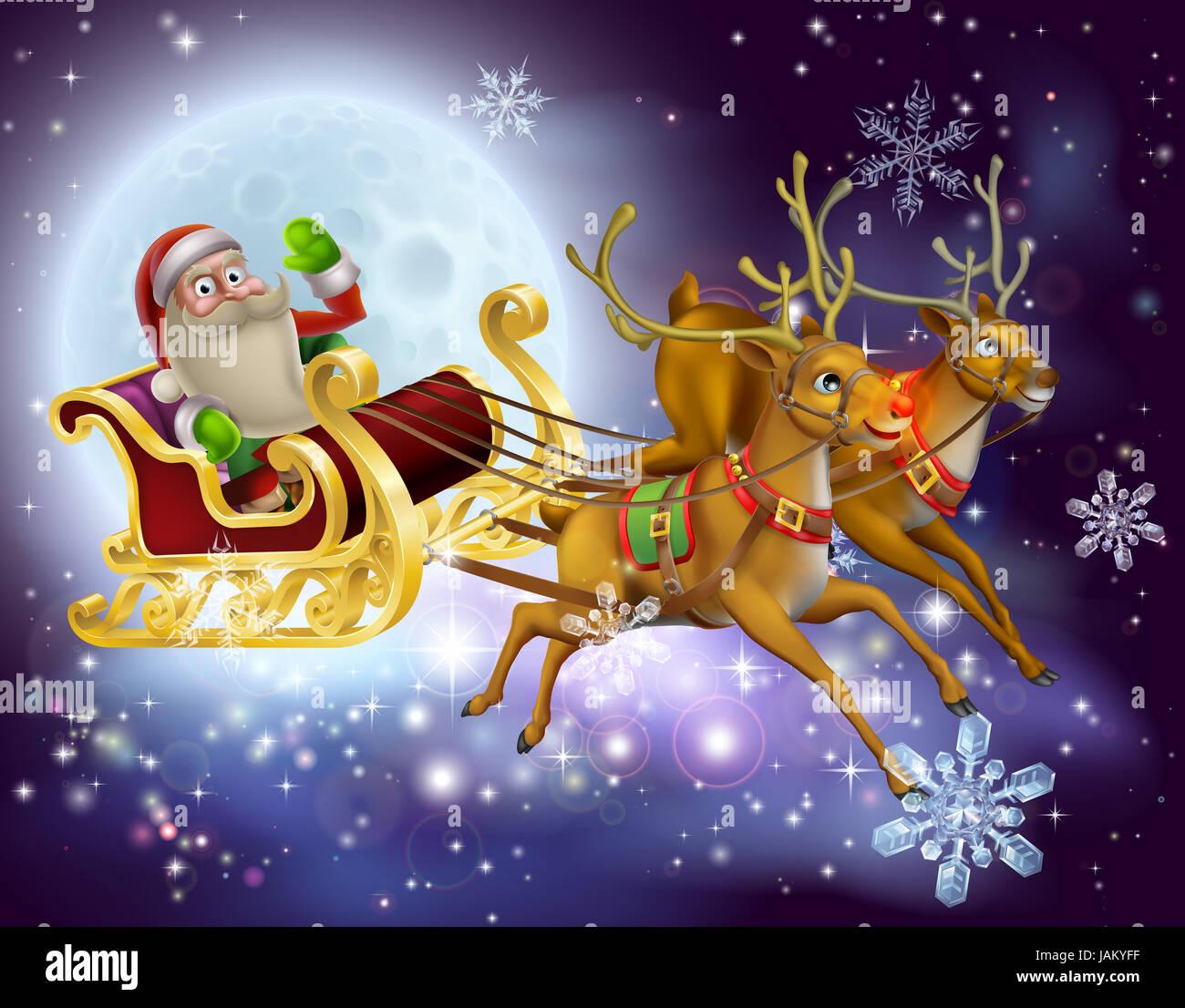 santa claus sleigh scene santa stockfotos santa claus. Black Bedroom Furniture Sets. Home Design Ideas