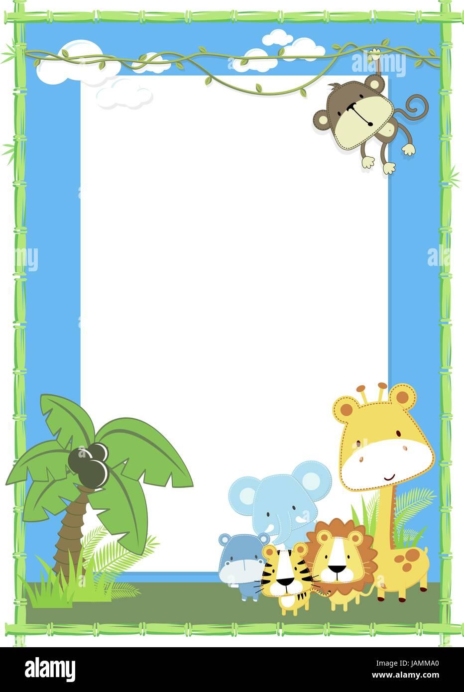 niedliche Baby Tiere Dschungel Dschungelpflanzen und Bambusrahmen ...