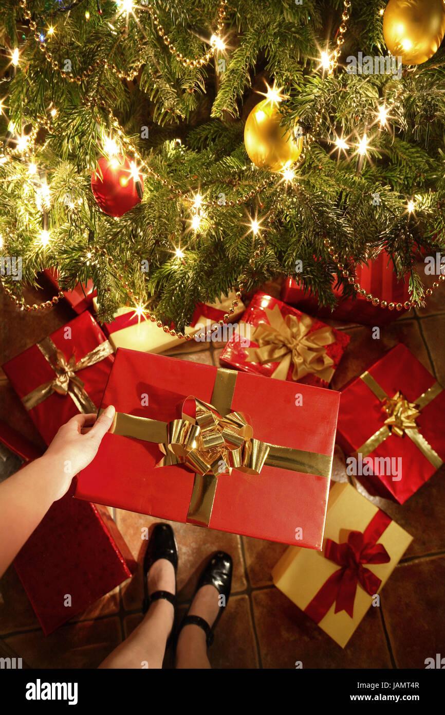 Weihnachten, Weihnachtsbaum, Frau, Detail, Knochen, Hand ...