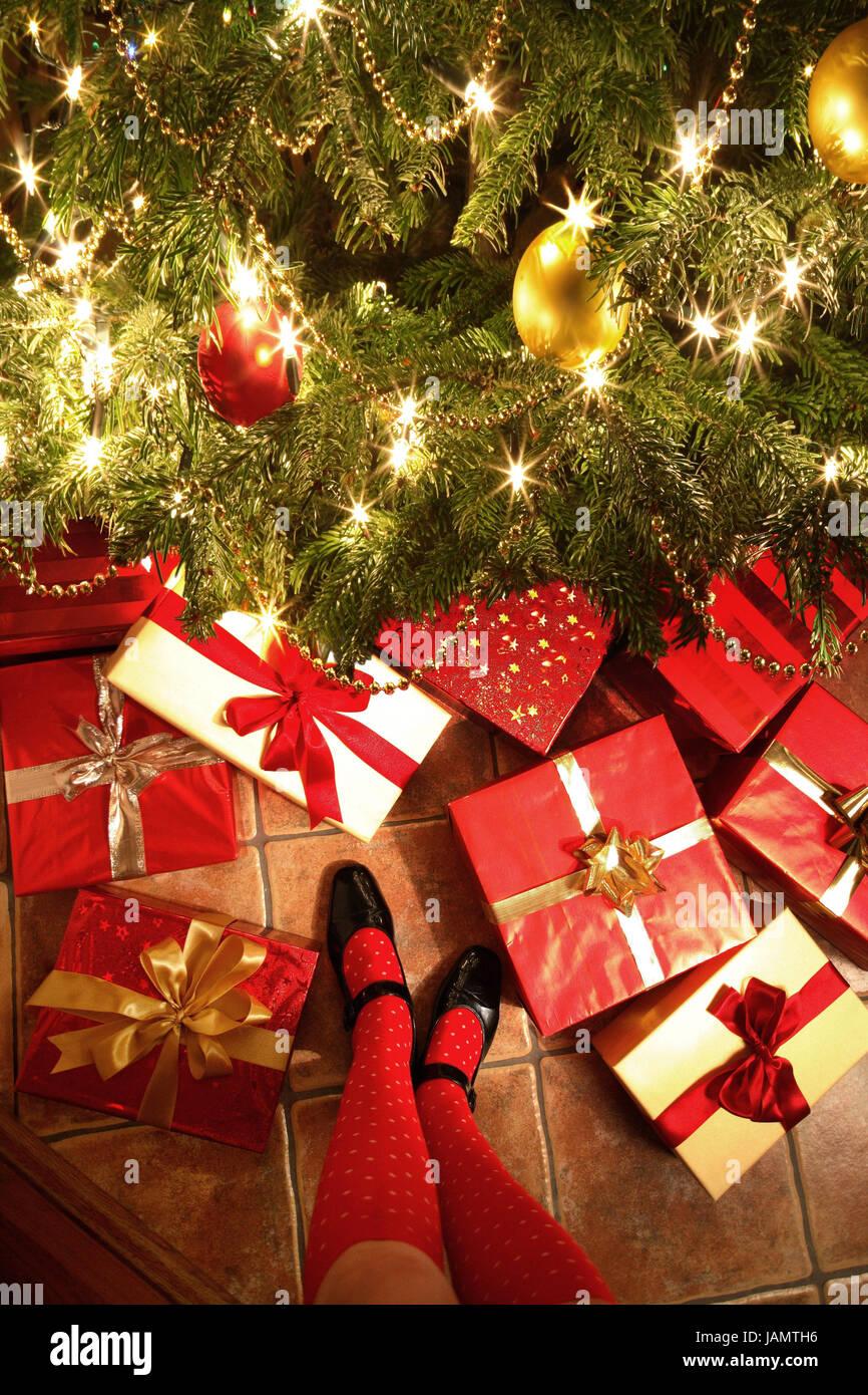 Weihnachten, Weihnachtsbaum, Frau, Detail, Knochen ...