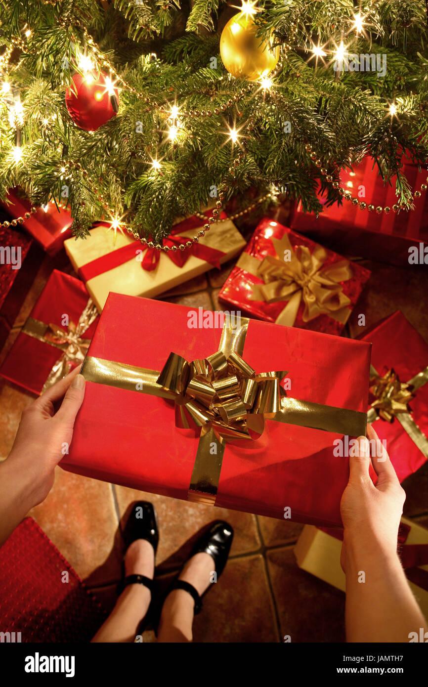 Weihnachten, Weihnachtsbaum, Frau, Detail, Knochen, Hände ...