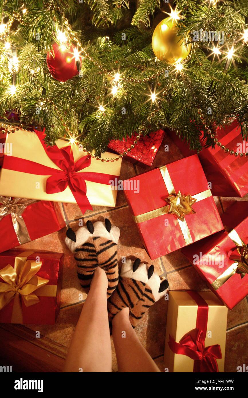 Weihnachten, Weihnachtsbaum, Frau, Detail, Knochen, Hausschuhe ...