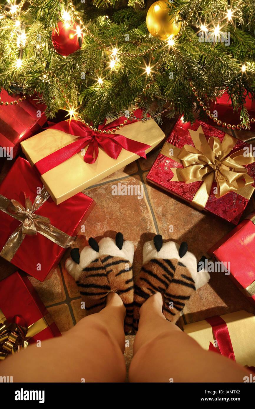 Weihnachtsgeschenke Witzig.Weihnachten Weihnachtsbaum Frau Detail Knochen Hausschuhe