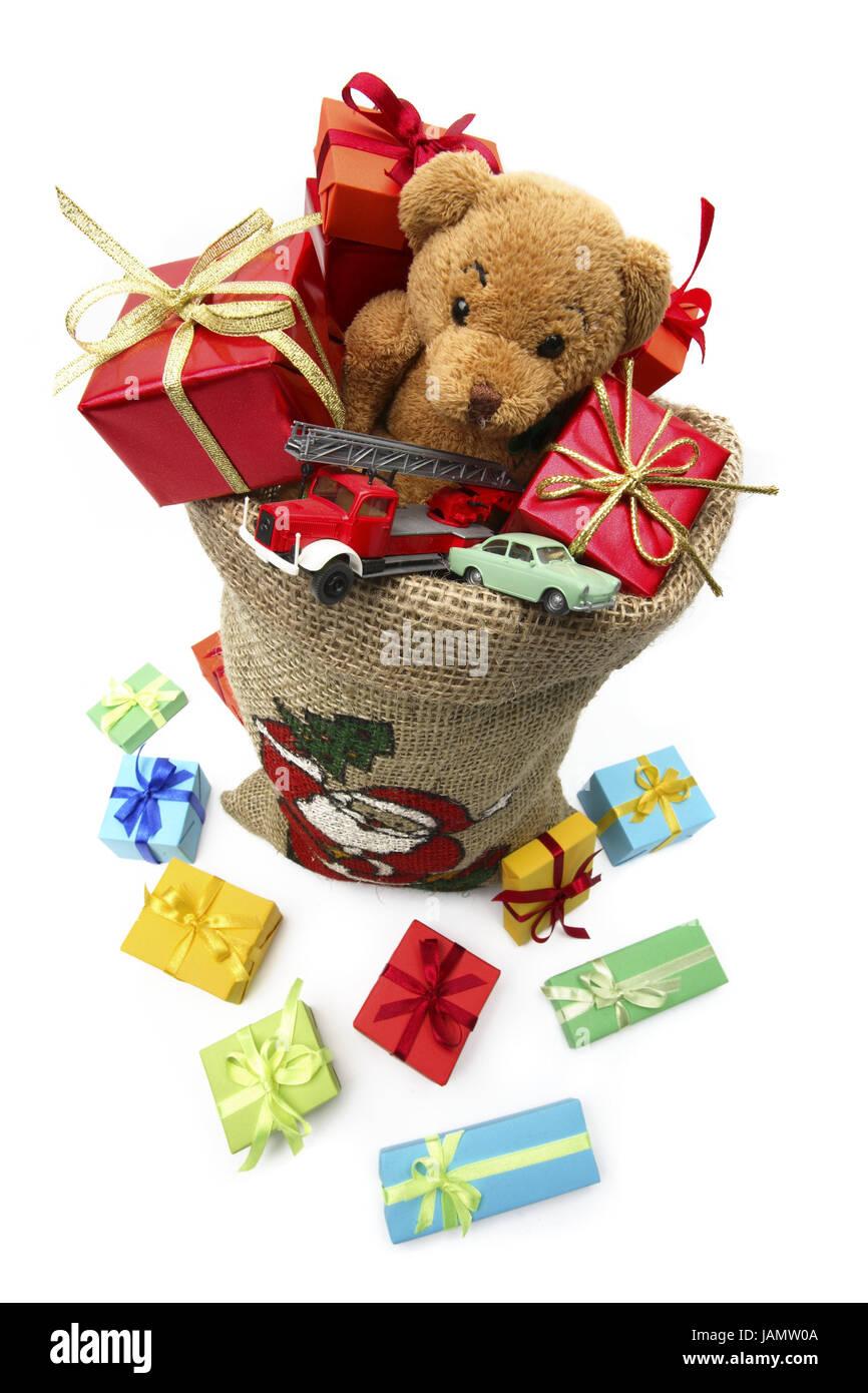 Nikolaus ist pouch, Geschenke, Teddybär, Spielzeug Autos ...
