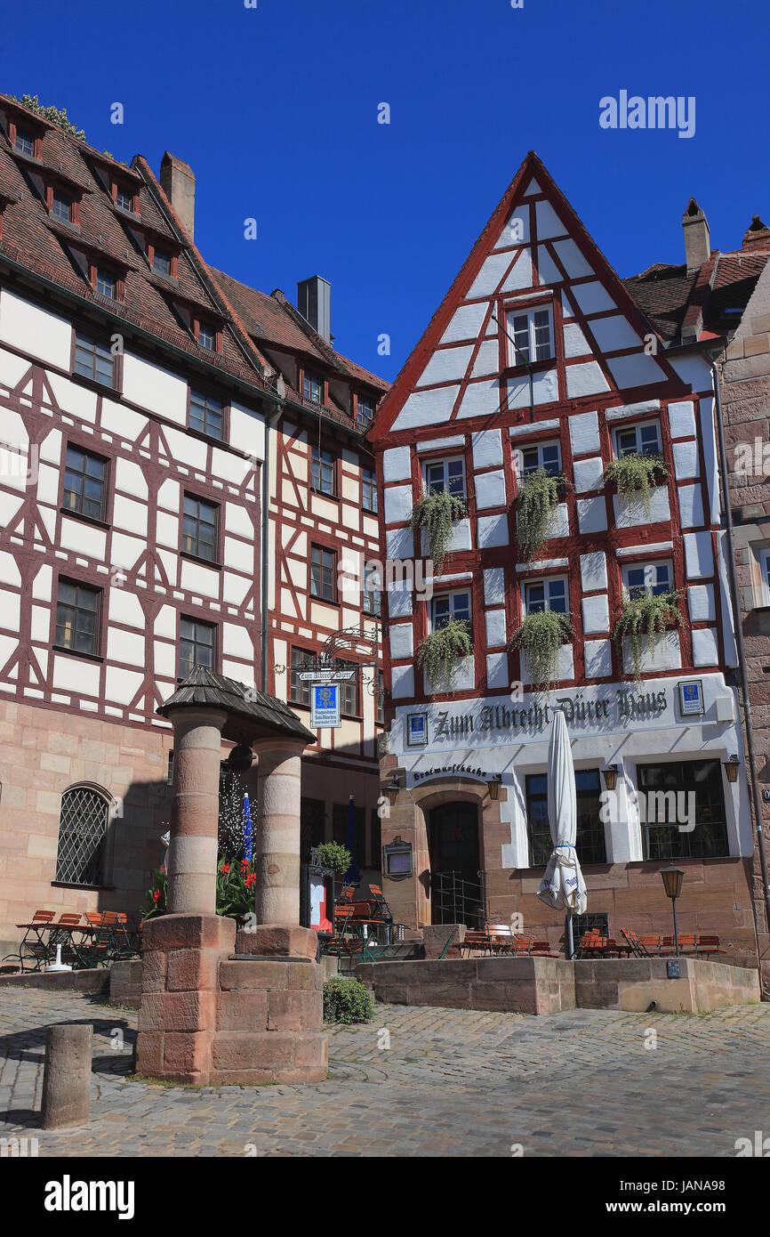 Nürnberg, Altstadt und die quadratischen Tiergaertnertorplatz mit dem Restaurant Albrecht-Dürer-Haus, Stockbild
