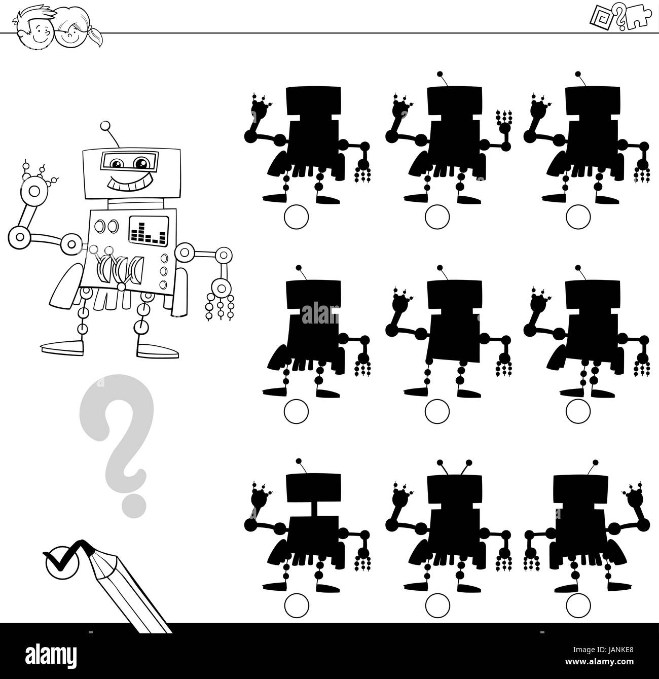 Match Shadow Puzzle Worksheet Kids Stockfotos & Match Shadow Puzzle ...