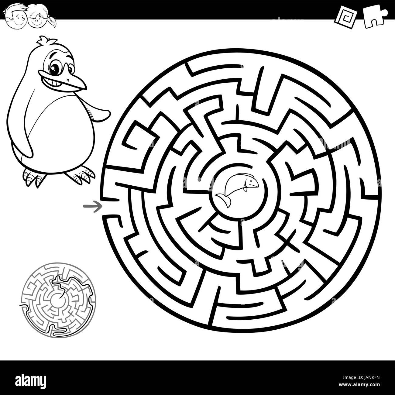 Cartoon Illustration Der Bildung Irrgarten Oder Labyrinth Spiel Für