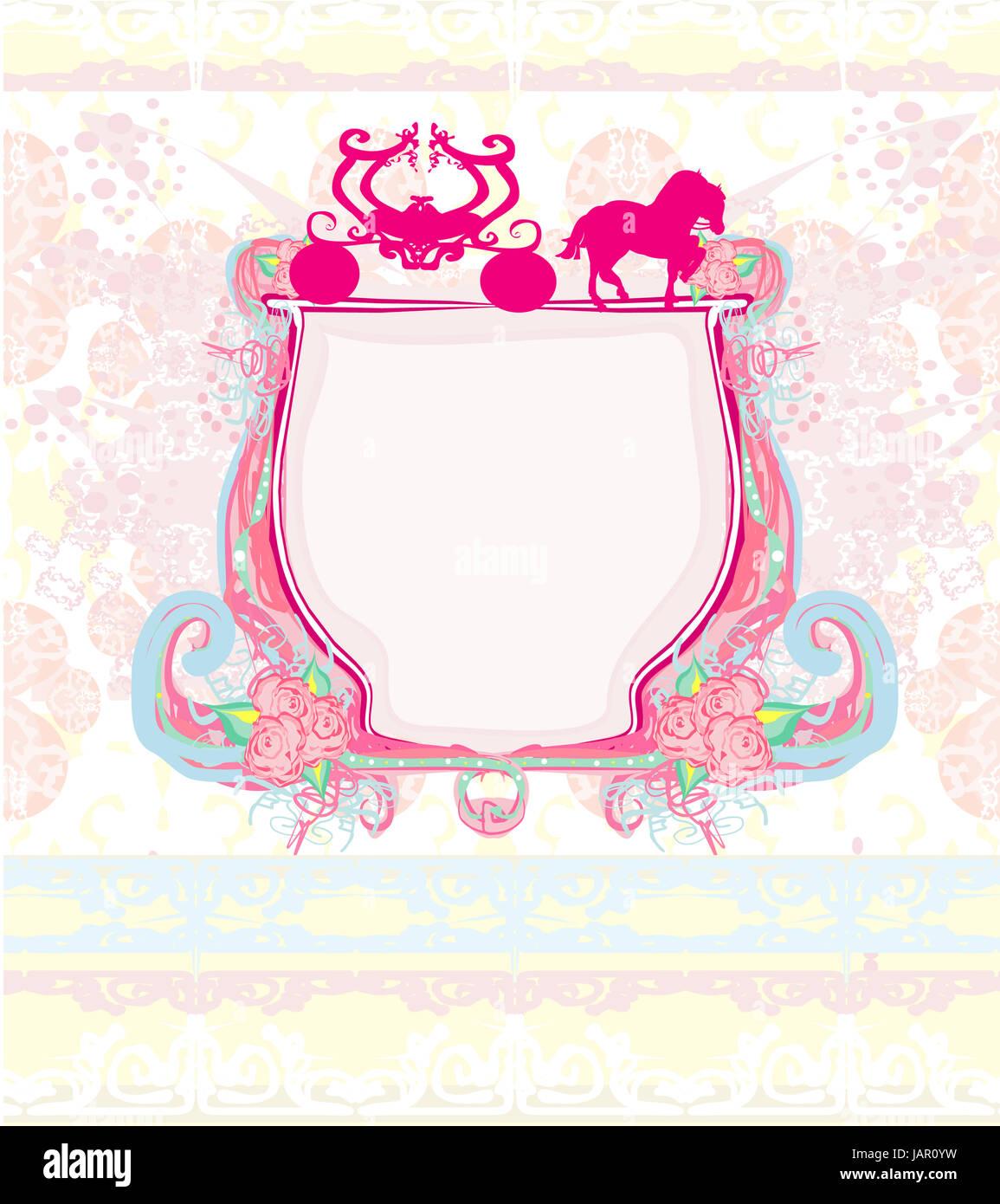 Wagen Vintage Floral Hochzeitseinladung Stockfoto Bild 144335181