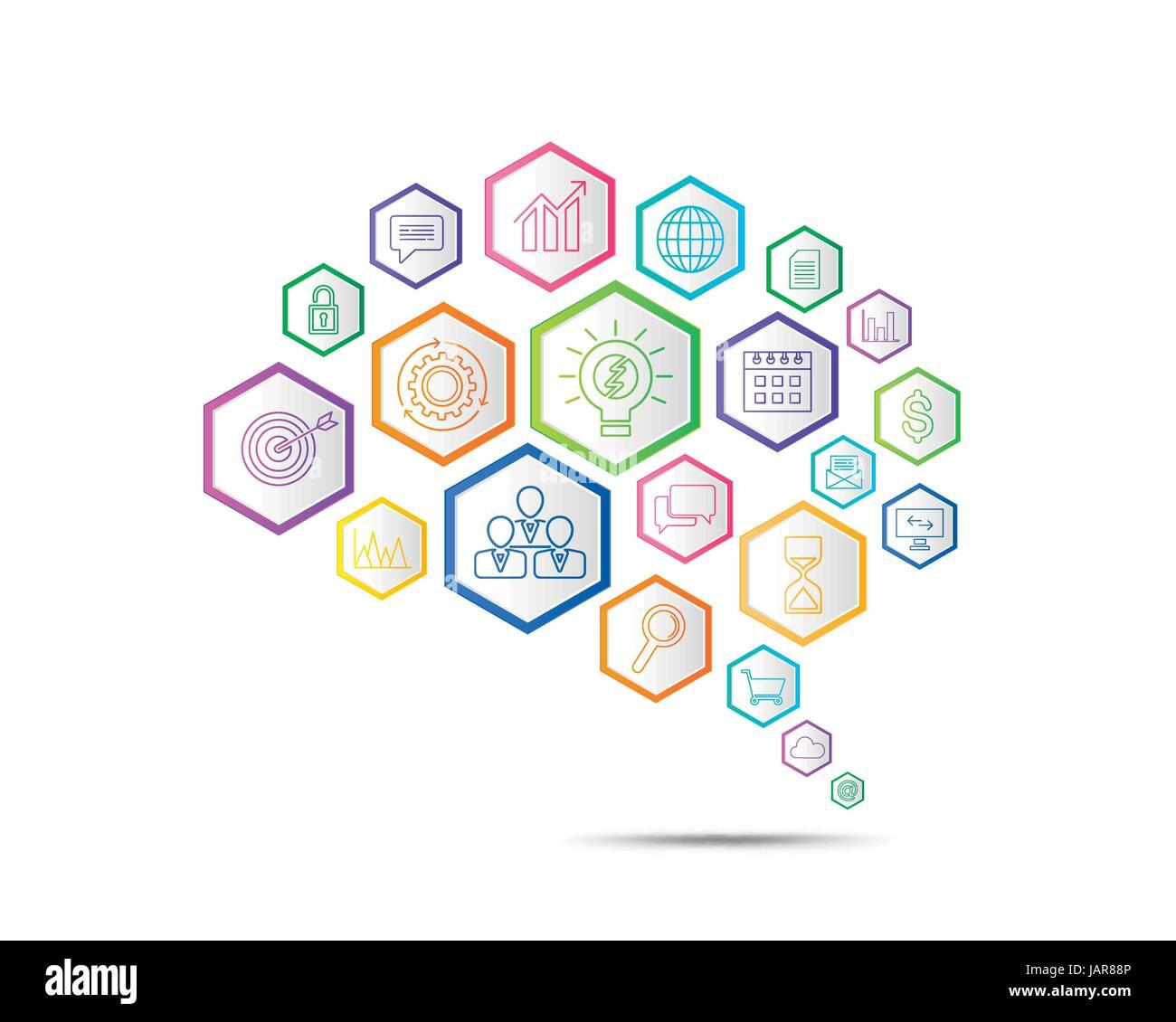 Verbindung Geschäftskonzept in Form von Gehirn-Symbol ...